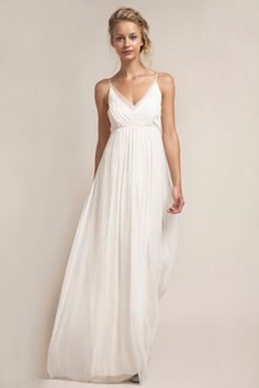 V-neck Sleeved elastic Satin Unusual wedding dresses | wedding ...