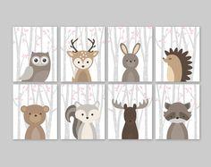 Bébé fille chambre d'enfant Decor Woodland animaux Woodland chambre de bébé fille rose Forest Animal imprime ensemble hibou cerf lapin ours écureuil orignal raton laveur