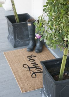 'Bonjour' Stenciled Doormat DIY   House of Earnest
