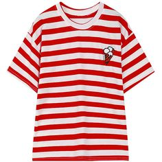 Chicnova Fashion Stripe T-shirt ($11) ❤ liked on Polyvore featuring tops, t-shirts, red stripe tee, round neck t shirt, stripe tee, red tee and stripe t shirt