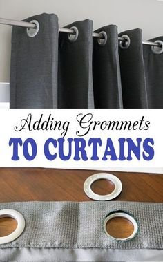 How to Add Grommets to Curtain Panels - Super easy, complete tutorial that you can do in an afternoon. No Sew Curtains, How To Make Curtains, Rod Pocket Curtains, Grommet Curtains, Panel Curtains, Curtain Panels, Curtains With Grommets, Drapery, Bedroom Curtains