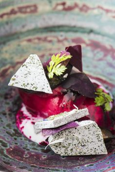 This glorious sorbet recipe by Heinrich Schneider combines the earthy flavour of beetroot with zingy raspberry, heady lavender and fragrant verbena. Textures, too, are equally well balanced, with smooth sorbet, delicate, creamy mousse and crisp shards of