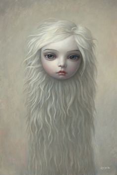 Hauntingly beautiful art by Mark Ryden... Yes it's a floating head of a young girl with long white fizzy hair. Ghostly~