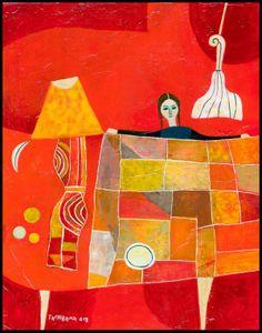 Yoshiro Tachibana「Niña con mantel」