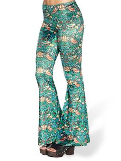 Strawberry Thief Velvet Bell Bottoms - LIMITED (AU $99AUD / US $70USD) by Black Milk Clothing