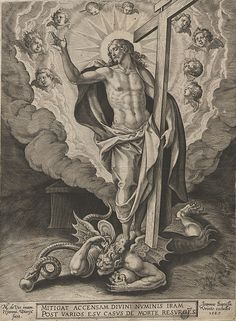 I'll bet Satan thought he won when Jesus was crucified. That is until Jesus showed up, defeated him and then rose from the dead! Catholic Art, Religious Art, Christus Tattoo, Gott Tattoos, Colonial Art, Jesus Tattoo, Jesus Art, Biblical Art, Jesus Pictures