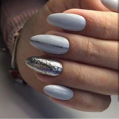 silver glitter and baby blue nails