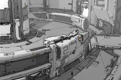 Halo 5 Space Elevator interior concept. #drawing #sketch #2d #illustration…