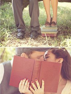 engagement picture idea with books. <3 <3 <3 <3 (Just not kissing;))