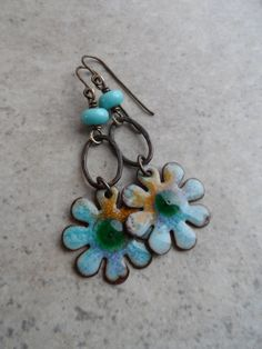 Darling Daisies ... Enameled Copper and by juliethelen on Etsy