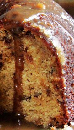 TOFFEE PECAN CARAMEL POUND CAKE - 1-1/2 C butter, 2 C brown sugar, 1 C granulated sugar, 5 large eggs, 3 C all-purpose flour, 1 tsp baking powder, ½ tsp salt, 1 C whole milk, 1 8 oz bag of toffee bits, 1 C pecans, nonstick cooking spray, EASY CREAMY CARAMEL SAUCE: ¾ C butter, 1½ C light brown sugar, 2 T water, ¼ tsp salt, ¾ C evaporated milk, 1 T vanilla extract
