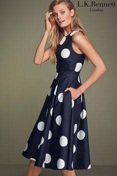 Buy L.K. Bennett Luchia Navy Spot Dress from the Next UK online shop