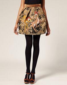 Enlarge JC De Castelbajac Bambi Skirt In Embroidered Brocade With High Waist