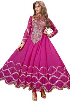 """#Rakshabandhan Collection !! #Pretty Pink  !  #Pink Georgette kameez designed with Zari,Resham Embroidery With Patch Patta Work. Available with Pink Santoon Bottom with matching Najneen Dupatta. This Dress Material kameez can be customized upto 44"""""""" inches.  INR-2482.00 Only With Exclusive Festive Offer  Shop now @http://tinyurl.com/owywp8n"""
