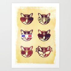 Cat's Eyes Art Print by Rubbishmonkey   Society6