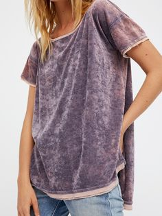 We The Free Doran Tee | Simple, ultra cozy velvet tee featuring side vents and a slight high-low hem for an effortless shape. Unfinished edges create a cool lived-in look.