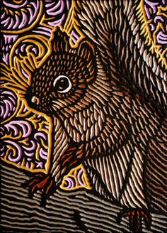 LISA BRAWN WOODCUT Squirrel 3