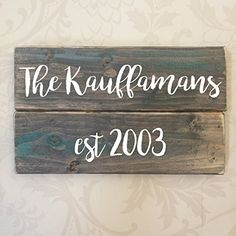 Handmade Personalized Family Name Rustic Wooden Sign 8X4 Brown or Gray
