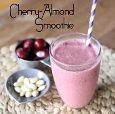 cherry almond smoothies...maybe instead of the greek yogurt I can get away with keffir