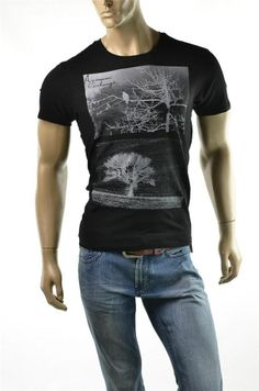 Armani Exchange T-shirt A/X Mens Black Slim Tree Shadow T shirt Shirts Sz S New