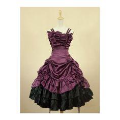 Purple Short Gothic Lolita Dress ❤ liked on Polyvore featuring dresses, gothic lolita dress, gothic clothing dresses, goth dress, gothic dress and short purple dresses