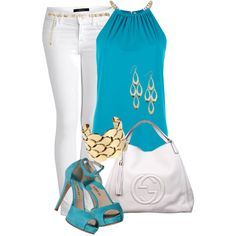 white and Turquoise by missyalexandra on Polyvore