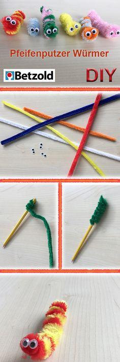 Pfeifenputzer Würmer Ihr braucht: Pfeifenputzer, Kulleraugen, Stift Schritt-für-Schritt-Anleitung: 1. Pfeifenputzer um einen Stift wickeln, bei zweifarbigen Würmer zwei Farben hintereinander wickeln. 2. Augen an die Spitze der Spirale kleben – Fertig!  Zum Onlineshop: https://www.betzold.de/prod/A_80524/ #kita #kiga #kindergarten #kunst #basteln #malen #DIY #pfeifenputzer #kulleraugen #süß