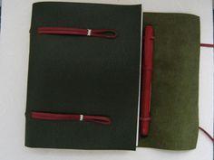 Leather Journal Sketchbook - Longstitch Binding In Green Grained Leather | Luulla