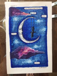 The Moon and the Girl - Blackout Poetry, Art, Artwork, Book Art, Word Art, Poem, Quote, Words, Sky, Night, Stars, Clouds, High Quality Print