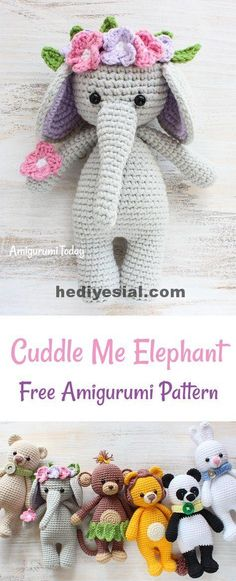 This Cuddle Me Elephant just can't wait to be nursed and protected. Decorated with tropical flowers, soft crochet elephant brings the sparkle into every child's eyes. It can make a cute birthday present! The Cuddle Me Elephant Crochet Pattern Crochet Gratis, Crochet Patterns Amigurumi, Cute Crochet, Crochet Dolls, Crochet Baby, Crochet Elephant Pattern Free, Crotchet, Knitting Patterns, Diy Crochet Elephant