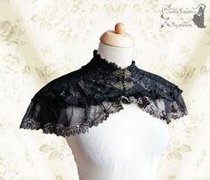 Capelet lace Steampunk Victorian black bronze by SomniaRomantica