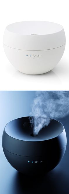 White Jasmine Aroma Diffuser // Simply fill the tank with an essential oil and water, and its ultra-sonic technology will blend the two together to create a fine mist that's distributed throughout the room #productdesign #industrialdesign