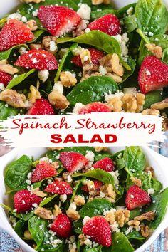 Salad Recipes Holidays, Side Salad Recipes, Quinoa Salad Recipes, Summer Salad Recipes, Side Dish Recipes, Healthy Recipes, Healthy Foods, Healthy Eating, Spinach Strawberry Salad