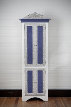 """""""Helen"""" cupboard in classic blue and white finish inspired by french country interiors"""