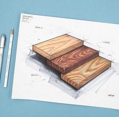 Industrial design sketch of maple, walnut, and oak wood grains. Drawn with Copic markers and prismacolor pencils. Interior Design Sketches, Industrial Design Sketch, Interior Rendering, Sketch Design, Architecture Concept Drawings, Texture Drawing, Drawing Art, Drawing Ideas, Sketch Markers