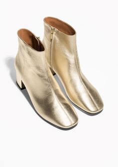 & Other Stories image 2 of Golden Leather Boots in Gold