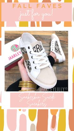 Bring comfort and style to every step with these Snakeskin Suede Sneakers! These canvas monogrammed sneakers allow you to personalize them with the font, thread color and initials of your choice. They're stylish enough to wear year round with skirts and dresses or jeans, leggings and shorts. Enjoy safety and style with non-skid rubber soles, snakeskin accents and our exclusive Marleylilly logo on the back heel of these canvas monogrammed sneakers.