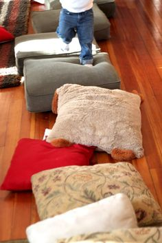 Walking on pillows- don't fall in the lava! Can you make them all?