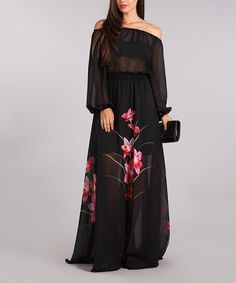 Look what I found on #zulily! Black Floral Sheer-Top Maxi Dress - Plus Too #zulilyfinds