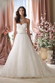 Strapless embroidered lace and tulle ball gown wedding dress, sweetheart neckline with eyelash trim, soft embroidered lace... ~