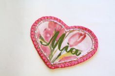 Pink Shabby Chic Girly Heart Patch Personalized by MaineCoonCrafts, $12.00