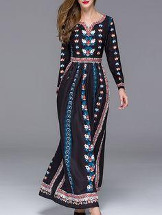 Black V Neck Long Sleeve Floral Print Maxi Dress 71.06