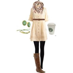 cute & cozy fall outfit, completed by a Starbucks!