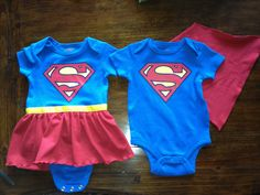 "Saw some superman onesies in Pinterest.  I found these onesies at Walmart of all places for only $3.97!!  Took them home and added a cape to the boy on and a skirt for a girl. Made them for my sweet little twin grand babies!! I bought some jersey knit red fabric sewed a zig zag on the edge of the skirt to make it frilly used some yellow grosgrain ribbon and wa la!!! Look on my ""grand babies"" board for more ideas!!! Twin Baby Clothes, Twin Baby Boys, Boy Girl Twins, Twin Girls, Twin Babies, Boy Girl Twin Outfits, Family Outfits, Kids Outfits, Twin Costumes"