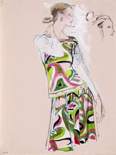 Brian Stonehouse M.B.E. (1918 - 1998) Original Working Fashion Illustration for US Magazine Pucci C1970's, Mixed Media, signed 68 x 48 cms £...