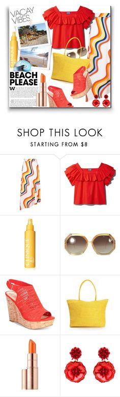 """""""BEACH PLEASE: Vacay Outfit"""" by katrina-byrd-jones ❤ liked on Polyvore featuring House of Holland, Clinique, Ted Lapidus, American Rag Cie, Estée Lauder and Mignonne Gavigan"""