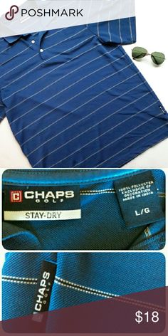 Chaps Golf stay dry polo EUC. Practically brand new! Very nice blue striped Polo shirt. This shirt keeps you dry during a hot day. 100% polyester. From a smoke and pet free home. Fast shipping.   *I take offers on bundles  *All offers considered  *No trades Chaps Shirts Polos