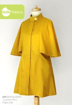 pdf sewing pattern Cape Coat -Lemon Pie- size 34-48 Waffle Patterns