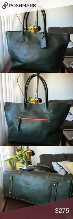 """Dooney Bourke Large Russel Tote Ivy Green Authentic, gorgeous retired color for the Fall season! Dooney & Bourke Florentine large Russel tote/shopper in Ivy (dark forest green) Vachetta leather. Includes the luggage tag, which is rare. Huge! Great for travel, work or gym! Excellent condition, minor blemishes and scratches as is common in these bags. Very clean inside, a darker spot on the top of the bag, by the handle. Registration card.m included. Measurements: 20"""" across, tapering to 14""""L…"""