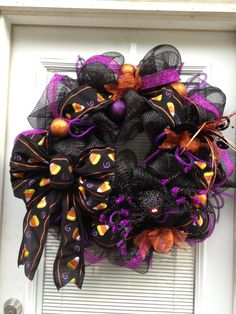 Halloween Deco Mesh Wreath Lighted Spider Black Candy Corn